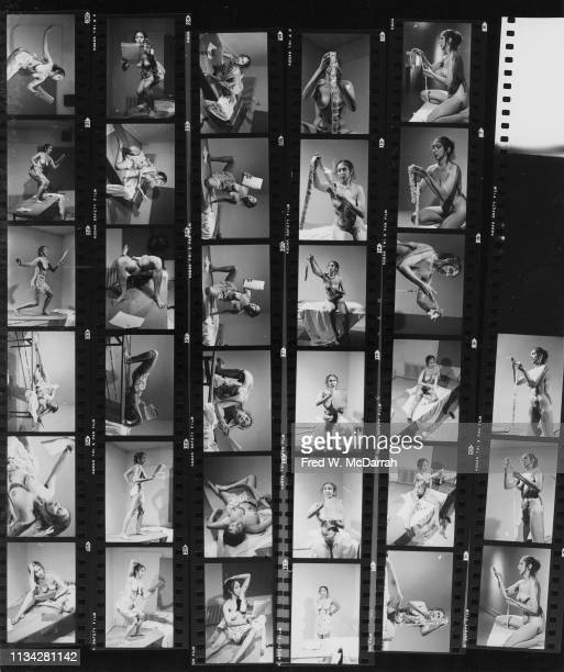 Contact sheet features images of American performance and visual artist Carolee Schneemann as she performs 'Interior Scroll' at Ashawagh Hall East...