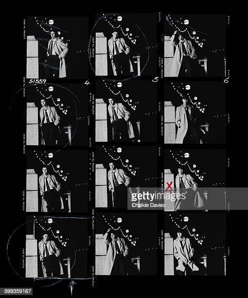 A contact sheet of a David Bowie portrait session at the time of the release of his single 'Absolute Beginners' Victoria Embankment London 1986
