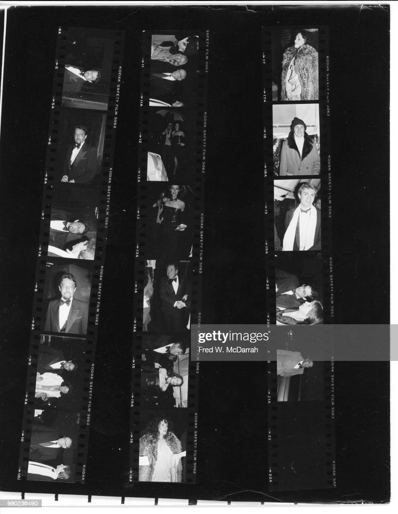 Contact sheet of attendees as they arrive at the Studio 54 nightclub (at 254 West 54th Street) for Roy Cohn's birthday party, New York, New York, February 22, 1979.