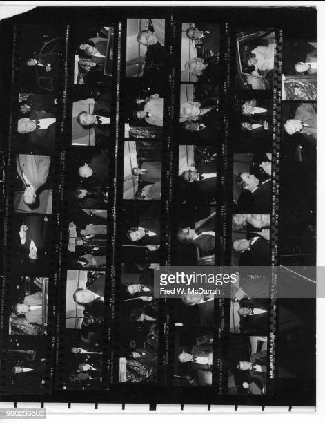 Contact sheet of attendees as they arrive at the Studio 54 nightclub for Roy Cohn's birthday party New York New York February 22 1979
