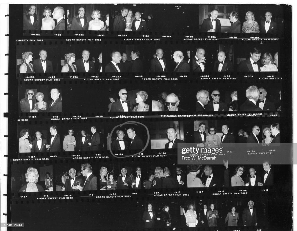 Contact sheet of attendees at Roy Cohn's birthday party at the Seventh Regiment Armory (aka Park Avenue Armory at 643 Park Avenue at 66th Street), New York, New York, February 22, 1981. Among those pictured are Cohn, radio host Barry Farber, and politicians John Van Allen, Toni Tucci, Thomas Bolan, and Carmine DeSapio.