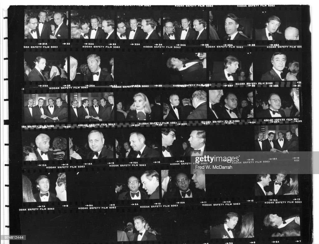 Contact sheet of attendees at Roy Cohn's birthday party at the Seventh Regiment Armory (aka Park Avenue Armory at 643 Park Avenue at 66th Street), New York, New York, February 22, 1981. Among those pictured are media mogul Rupert Murdoch, businessman Bernard Lange, politicians Alphonse D'Amato, Howard Goldin, Andrew Stein, real estate developers Sam LeFrak and Donald Trump, heiress Doris Lilly, and New York Post editor Roger Wood.