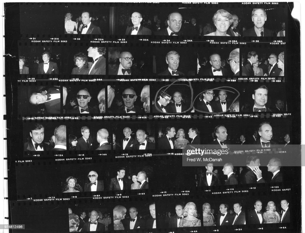 Contact sheet of attendees at Roy Cohn's birthday party at the Seventh Regiment Armory (aka Park Avenue Armory at 643 Park Avenue at 66th Street), New York, New York, February 22, 1981. Among those pictured are Cohn, politicians George Leo Clark Jr, David Mahoney, Thomas Cuite, and Geraldine Ferraro, columnist and socialite Claudia Cohen, and television host Bill Boggs.