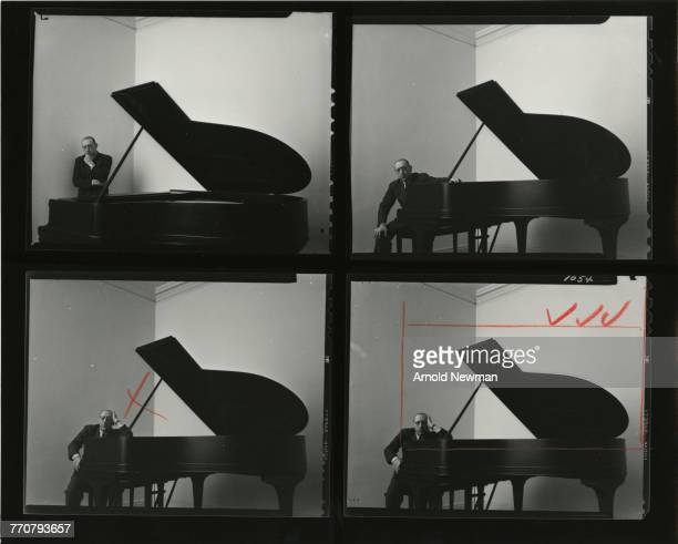 A contact sheet of four portraits of RussianAmerican composer Igor Stravinsky as he sits at a piano New York New York December 1 1946 There are...