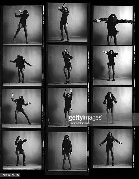 Contact sheet of fulllength studio portraits of American rock singer Tina Turner dressed in a dark crocheted minidress in various poses New York New...