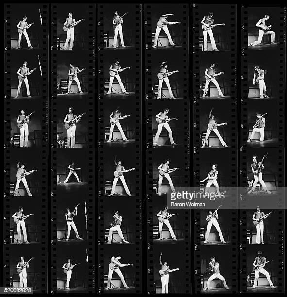 Contact sheet of guitarist and songwriter Pete Townshend of British rock group The Who performs at the Fillmore West San Francisco August 1968