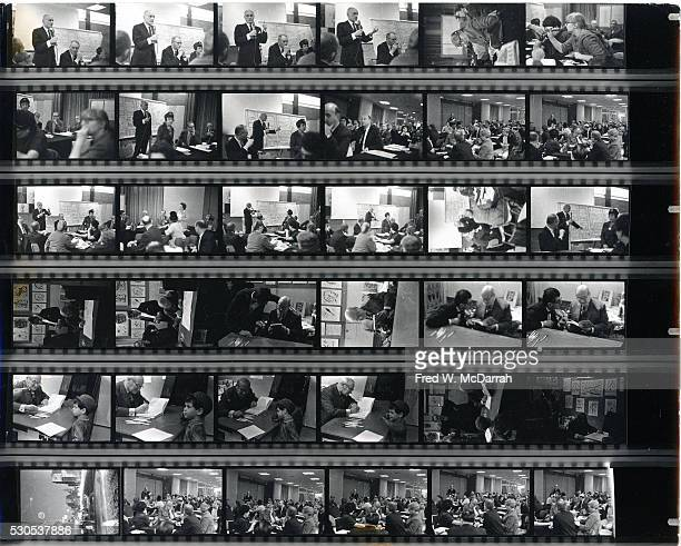 Contact sheet of image by photographer Fred McDarrah New York New York 1960s Images included various participants among them Jane Jacobs Philip...