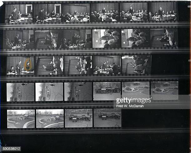 Contact sheet of image by photographer Fred McDarrah New York New York 1960s Images included various participants at a New York City Planning Board...