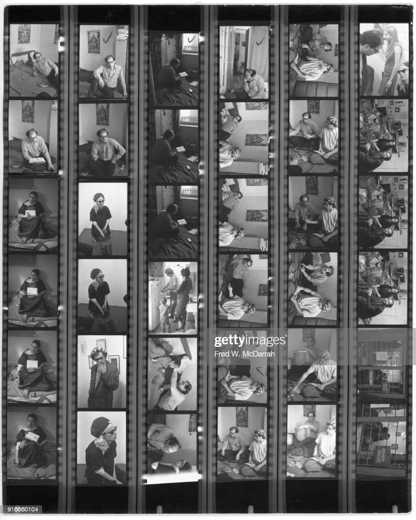 Contact sheet of images by photographer Fred McDarrah, New York, New York, November 1, 1964. Images included feature various people, including American film director and performance artist Barbara Rubin (1945 - 1980), poets Allen Ginsberg (1926 - 1997) and Peter Orlovsky (1933 - 2010) (with striped hat), all at Ginsberg's apartment (at 170 East 2nd Street).