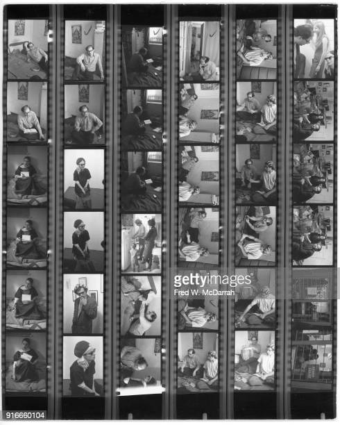 Contact sheet of images by photographer Fred McDarrah New York New York November 1 1964 Images included feature various people including American...