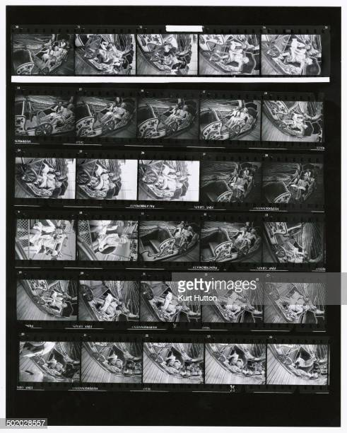 A contact sheet of images depicting two women passengers on the 'Caterpillar' ride at Southend Fair Essex October 1938 Original Publication Picture...