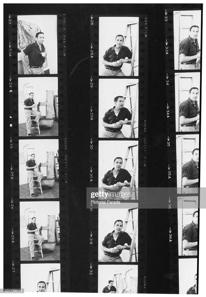 A contact sheet of images portraying American abstract expressionist painter Robert Rauschenberg (1925 - 2008) at work in a studio, circa 1955.