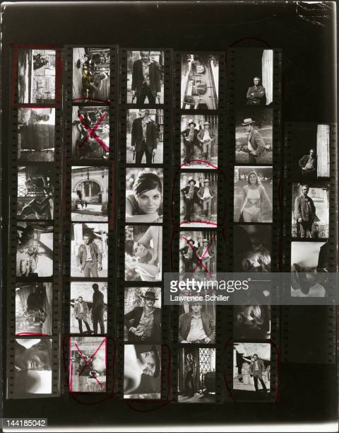 A contact sheet of photos shows American actors Paul Newman Robert Redford and Katherine Ross on and around the set of their film 'Butch Cassidy and...