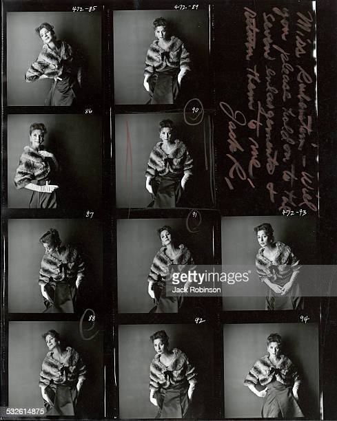 Contact sheet of portaits of Suzy Parker 1958