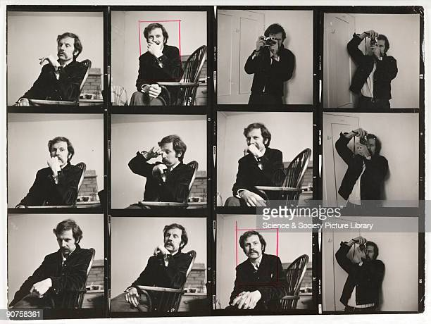 Contact sheet of portraits of British photographer Tony RayJones taken by Ainslie Ellis