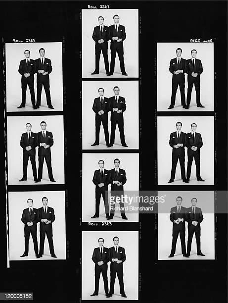 A contact sheet of portraits of Martin Kemp and his brother Gary as British gangsters Reggie and Ronnie Kray respectively in 'The Krays' directed by...