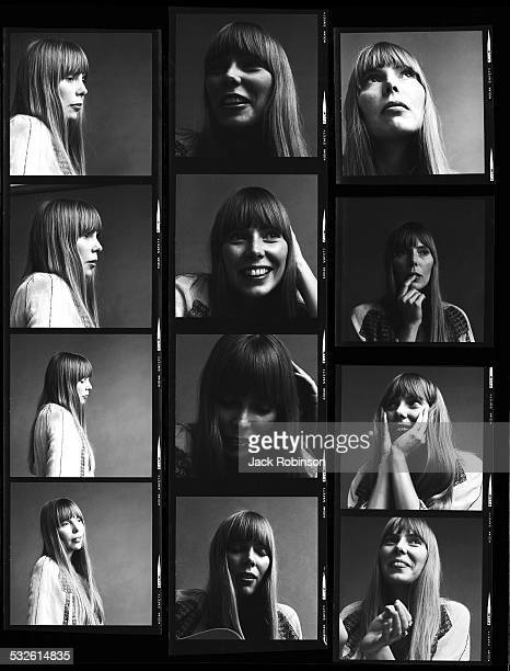 Contact sheet of portraits of the singer Joni Mitchell 1968