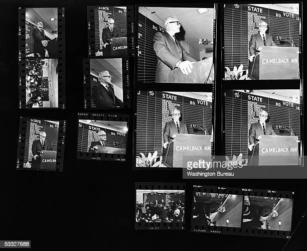 Contact sheet of Republican senator Barry Morris Goldwater of Arizona conceding the 1964 presidential election to President Lyndon Johnson at a press...