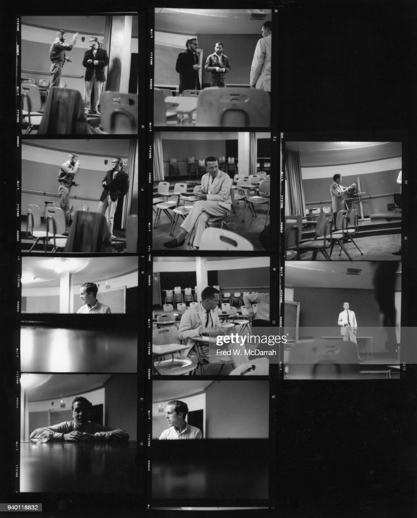 Contact sheet of various images related to classes at the New School, New York, New York, August 5, 1959. Pictured are, top row, left frame, American performance artists Allan Kaprow (1927 - 2006) (with arm raised) and Robert Whitman, and right frame, Whitman (in glasses), Kaprow, and artist and composer George Brecht (1926 - 2008); second row, left frame, Kaprow and Whitman, center frame, Brecht, and right frame, composer John Cage (1912 - 1992); third row, left frame, British composer and poet Dick Higgins (1938 - 1998), center and right frames, Brecht; and bottom row, both frames, Higgins.