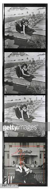 Contact sheet showing a young couple on their honeymoon at Billy Butlin's Ocean Hotel in Saltdean, Sussex, April 1957.
