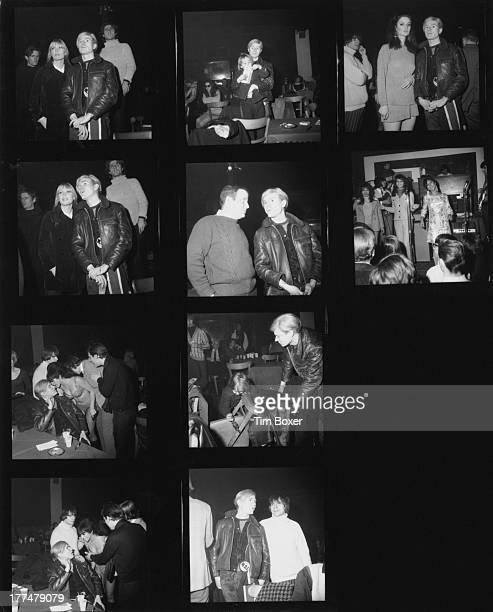 A contact sheet showing American pop artist Andy Warhol attending an event at the Action house nightclub in Island Park Long Island New York 4th...