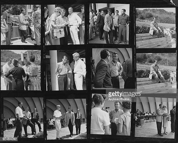 A contact sheet showing American television show host Dick Clark rehearsing at the Hollywood Bowl Los Angeles circa 1958