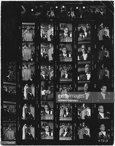 A contact sheet showing images of AfricanAmerican Muslim minister and civil rights activist Malcolm X giving a speech at Uline Arena Washington DC...