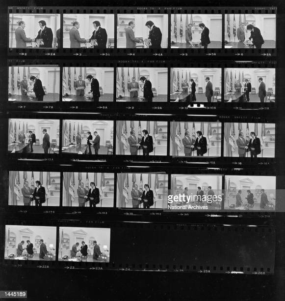 A contact sheet of President Richard Nixon meeting with Elvis Presley December 21 1970 at the White House