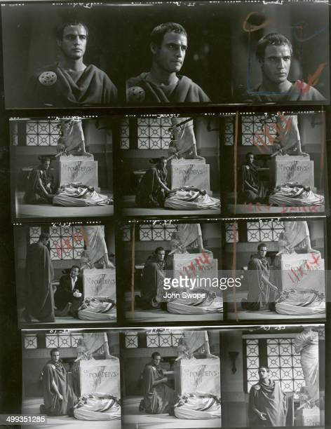 Contact sheet shows images of American actor Marlon Brando in the fim 'Julius Caesar' California 1953
