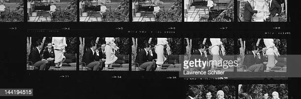 A contact sheet shows various photos of American actors Wally Cox Marilyn Monroe and Dean Martin during the filming of 'Something's Got to Give' Los...