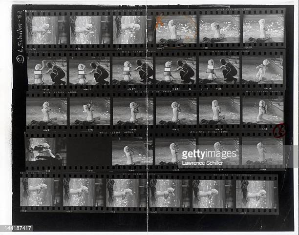 APPLY A contact sheet shows various photos of American actress Marilyn Monroe during the filming of the pool scene from 'Something's Got to Give' Los...