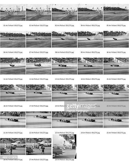 Contact sheet shows view of the fatal race car crash of American driver Art Pollard during a practice race for the Indianapolis 500 Indianapolis...
