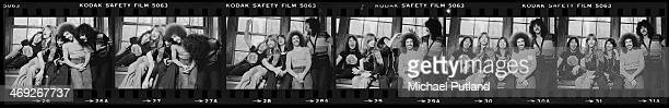 A contact strip depicting American rock group Journey New York 1978 Left to right drummer Aynsley Dunbar bassist Ross Valory singer Steve Perry...