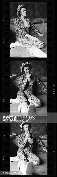 A contact strip depicting English singer and songwriter David Bowie being interviewed at home in Beckenham London on April 24 1972
