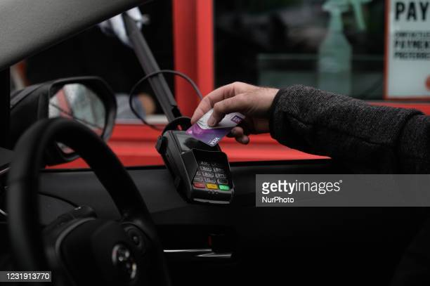 Contactless card payment at a take away in Dublin during Level Five COVID-19 lockdown. On Wednesday, March 23 in Dublin, Ireland.