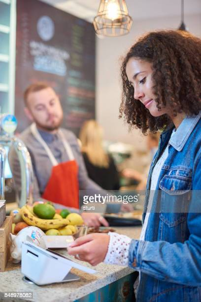 contactless payment in a cafe