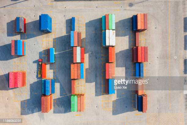 container aerial view - liyao xie stock pictures, royalty-free photos & images