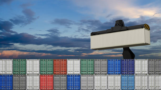 container box in warehouse in shipping port.