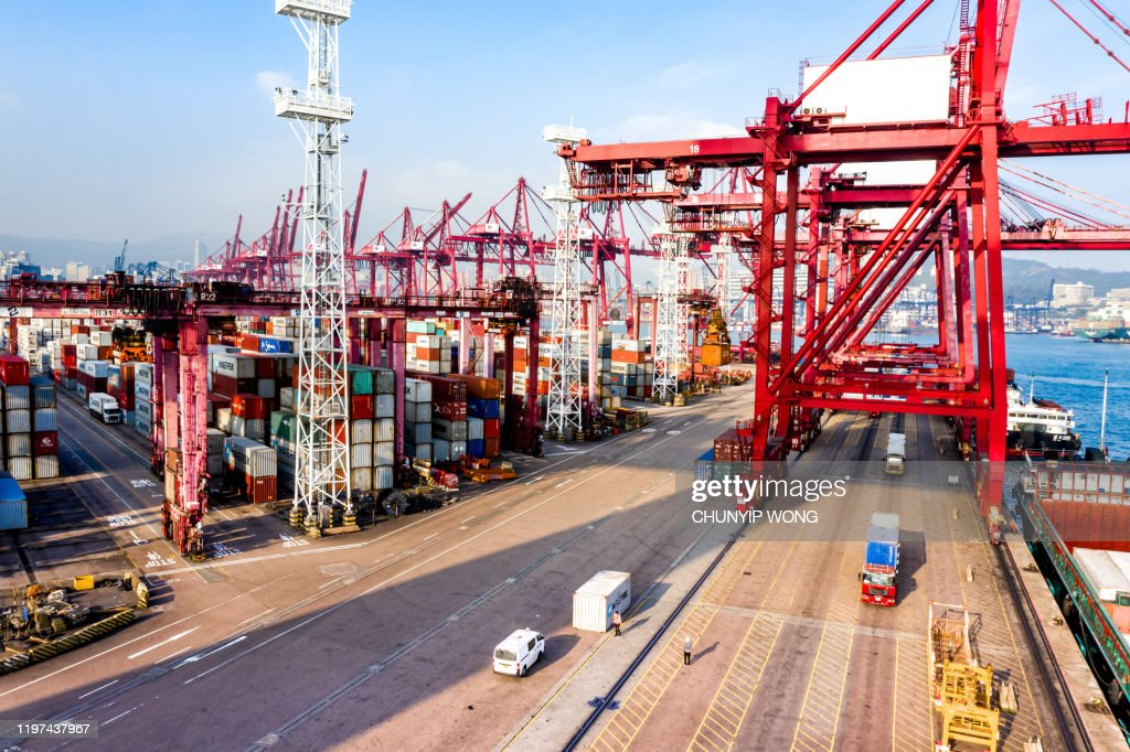 Container Cargo freight ship Terminal in Hong kong, China : Stock Photo