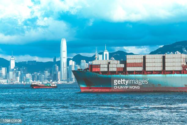 container cargo freight ship terminal in hong kong - chinese culture stock pictures, royalty-free photos & images