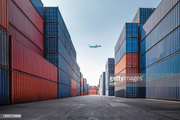 container cargo port ship yard storage handling of logistic transportation industry. row of stacking containers of freight import/export distribution warehouse. shipping logistics transport industrial - business finance and industry bildbanksfoton och bilder
