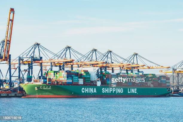 """container cargo ship china shipping line cscl mercury container ship in the port of rotterdam - """"sjoerd van der wal"""" or """"sjo"""" stock pictures, royalty-free photos & images"""