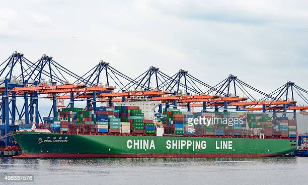 Container cargo ship in port