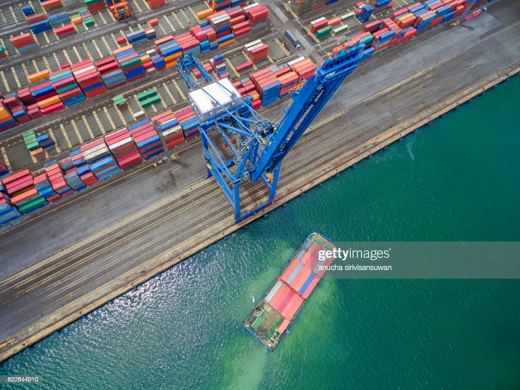 container cargo Ship parked Harbor cranes . : Stock Photo