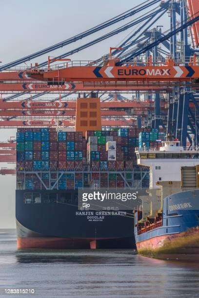 "container cargo ship - ""sjoerd van der wal"" or ""sjo"" stock pictures, royalty-free photos & images"
