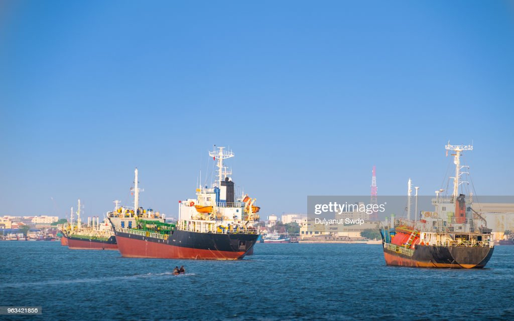 Container Cargo Ships And Oil Tankers Sailing In Bangkok