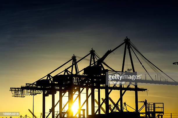 container cranes at port of los angeles - long beach california stock photos and pictures