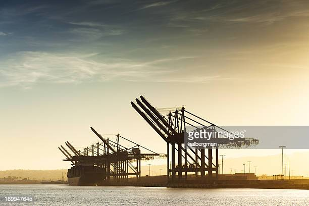 container cranes at the port of los angeles - long beach california stock photos and pictures