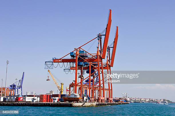 container cranes - haydarpasa stock photos and pictures