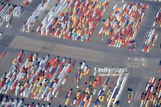 Container destined for export stand at Bremerhaven port on March 19 2018 in Bremerhaven Germany The new German government is seeking to prevent new...